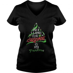 All i want for christmas is my grandma ladies v-neck
