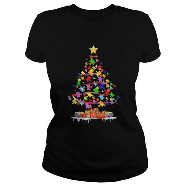 Autism Awareness Christmas Tree Shirt ladies tee