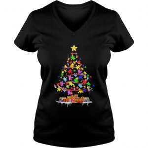Autism Awareness Christmas Tree Shirt ladies v-neck