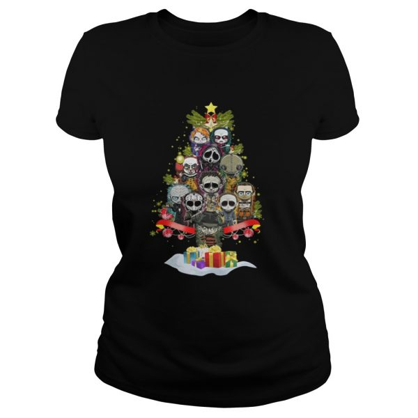Horror Characters christmas tree ladies tee