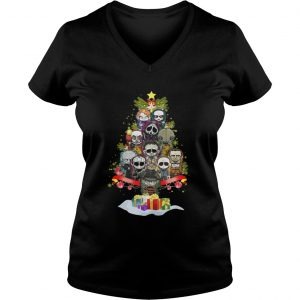 Horror Characters christmas tree ladies v-neck