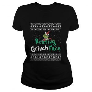 Resting Grinch Face Christmas ladies tee