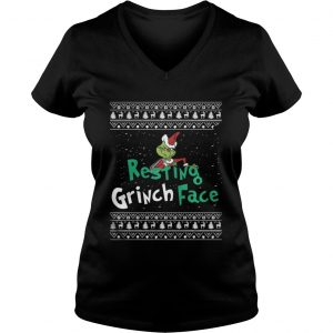 Resting Grinch Face Christmas ladies v-neck
