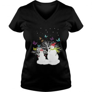 Snowman And Butterfly ladies v-neck