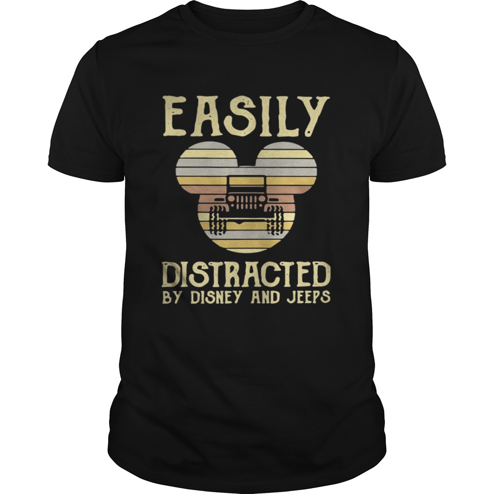 Sunset Easily distracted by Disney and Jeeps Vintage shirt