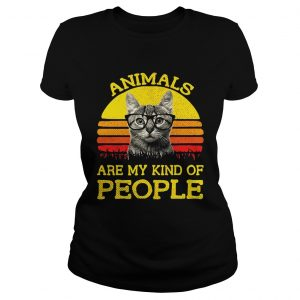 Cat animals are my kind of people retro shirt Classic Ladies Tee