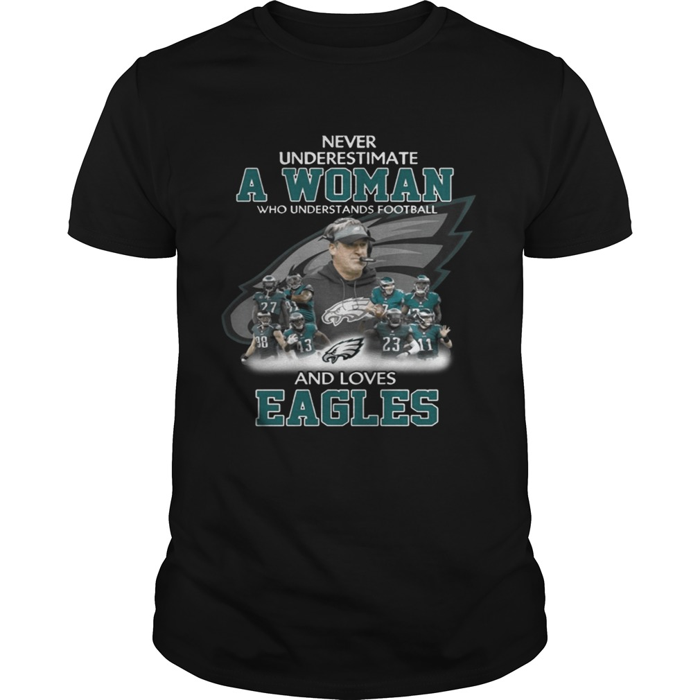 Never Underestimate a Woman Who Understands Football And Loves Eagles Tshirt
