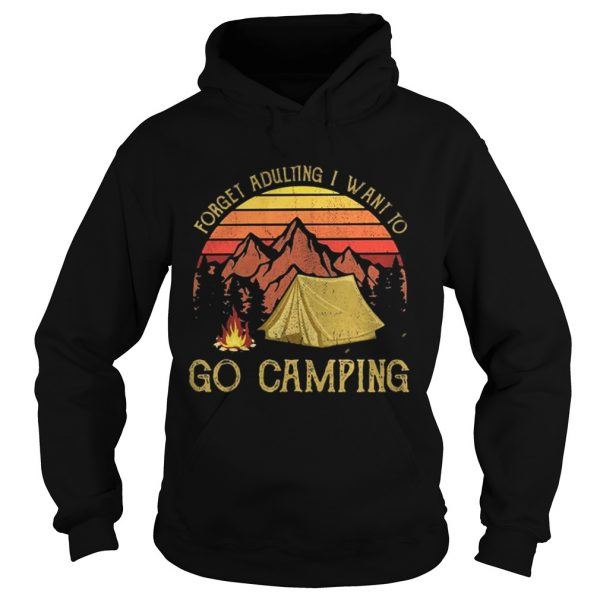 Forget adulting I want to go camping moutain sunset shirt Ladies V-Neck