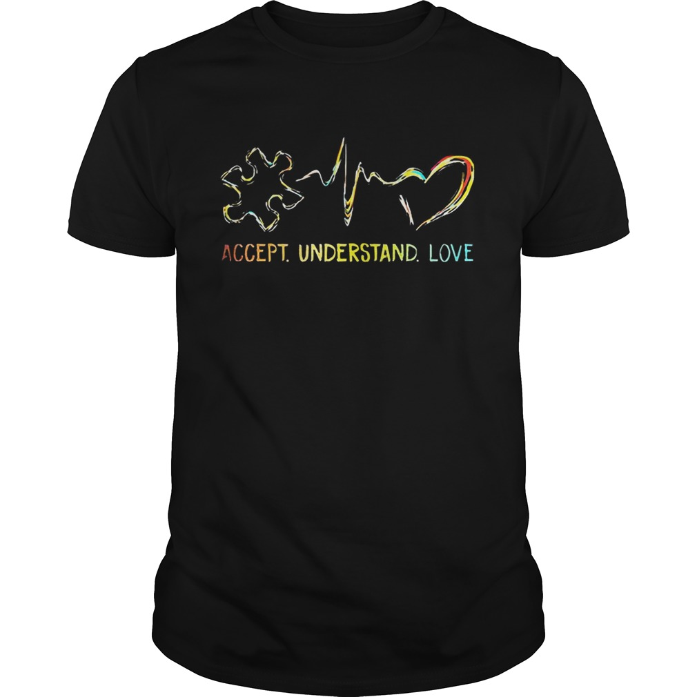 Accept Understand Love Autism Colorful Heartbeat Shirt