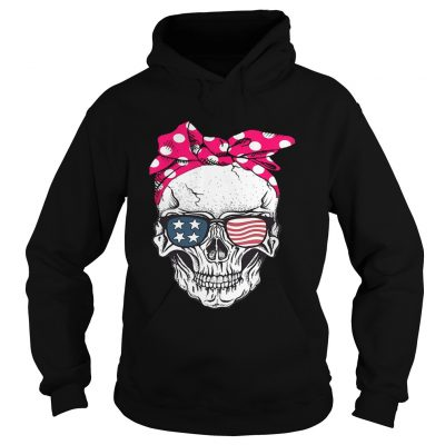Skull lady with American flag sunglasses hoodie