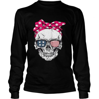 Skull lady with American flag sunglasses longsleeve tee