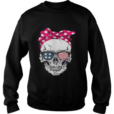 Skull lady with American flag sunglasses sweatshirt