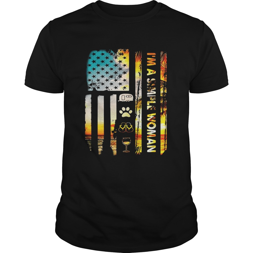 American flag I'm a simple woman I love camping dog flip flop and wine shirt