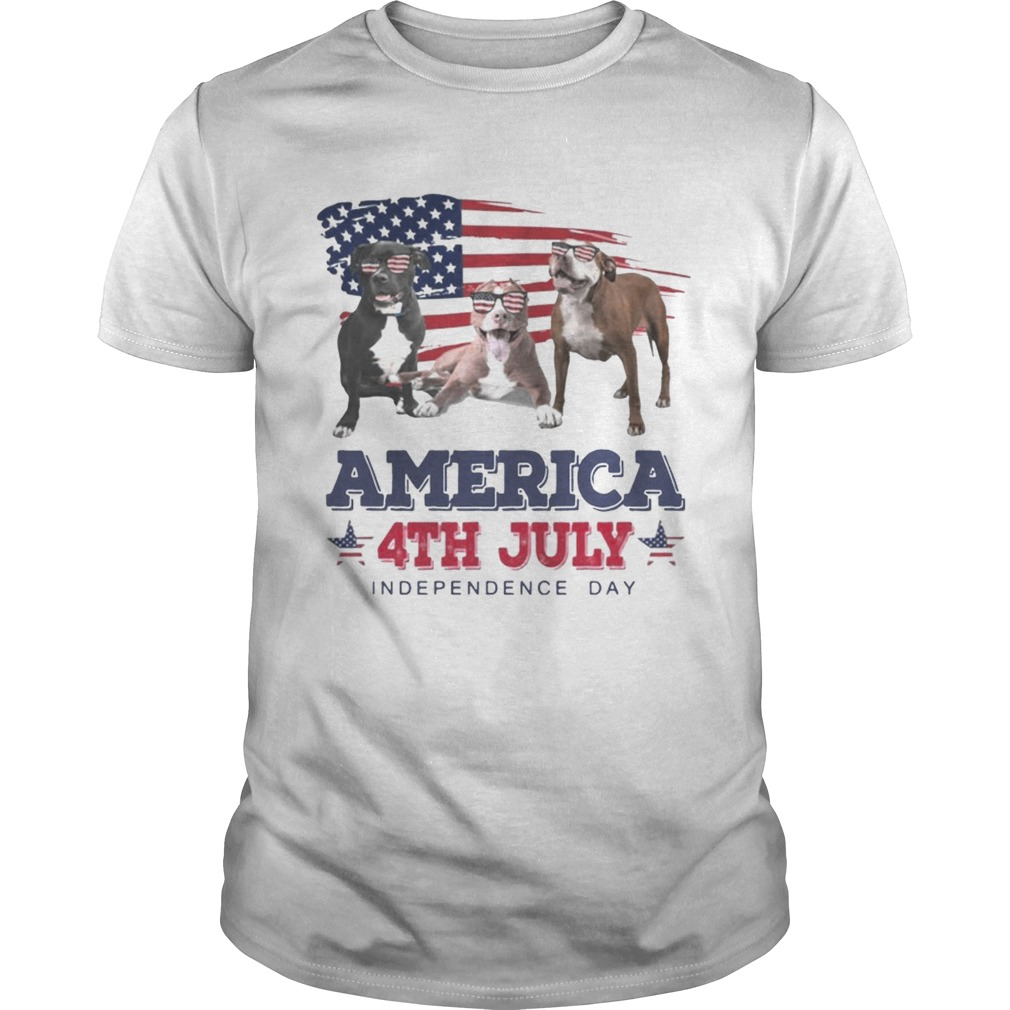 Cool Pit Bull America 4th July Independence Day Tshirt