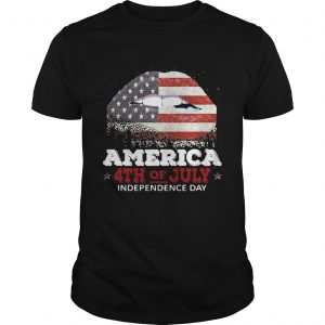 Happy Independence day lip America Flag 4th of July shirt