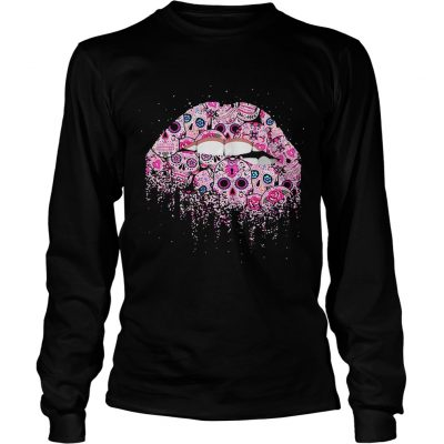 Sugar skull Rocky Horror Lips Day of the Dead longsleeve tee