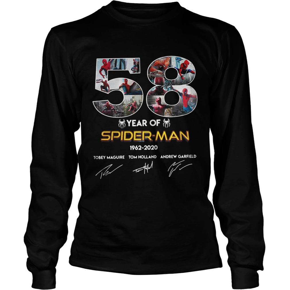 58 year of SpiderMan 19622020 Tobey Maguire Tom Holland Andrew Garfield LongSleeve