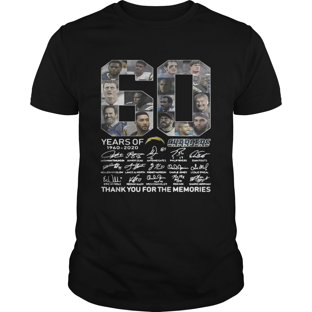 60 years of Los Angeles Chargers 1960 2020 signature thank you shirt
