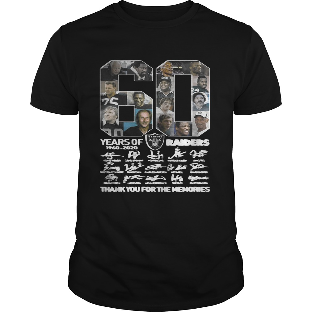60 years of Oakland Raiders 1960 2020 signature thank you for the shirt