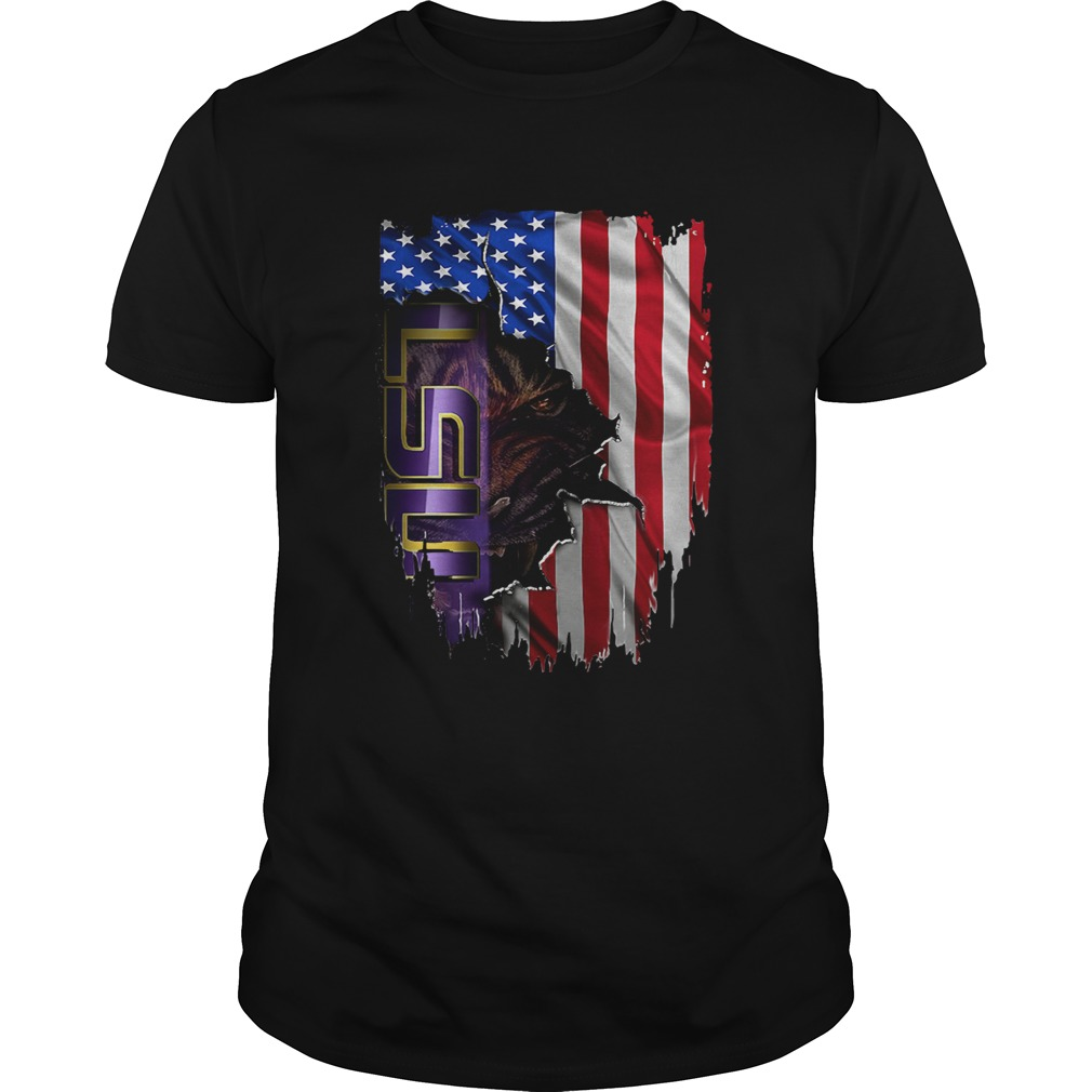 Louisiana State University LSU Tigers inside American flag shirt