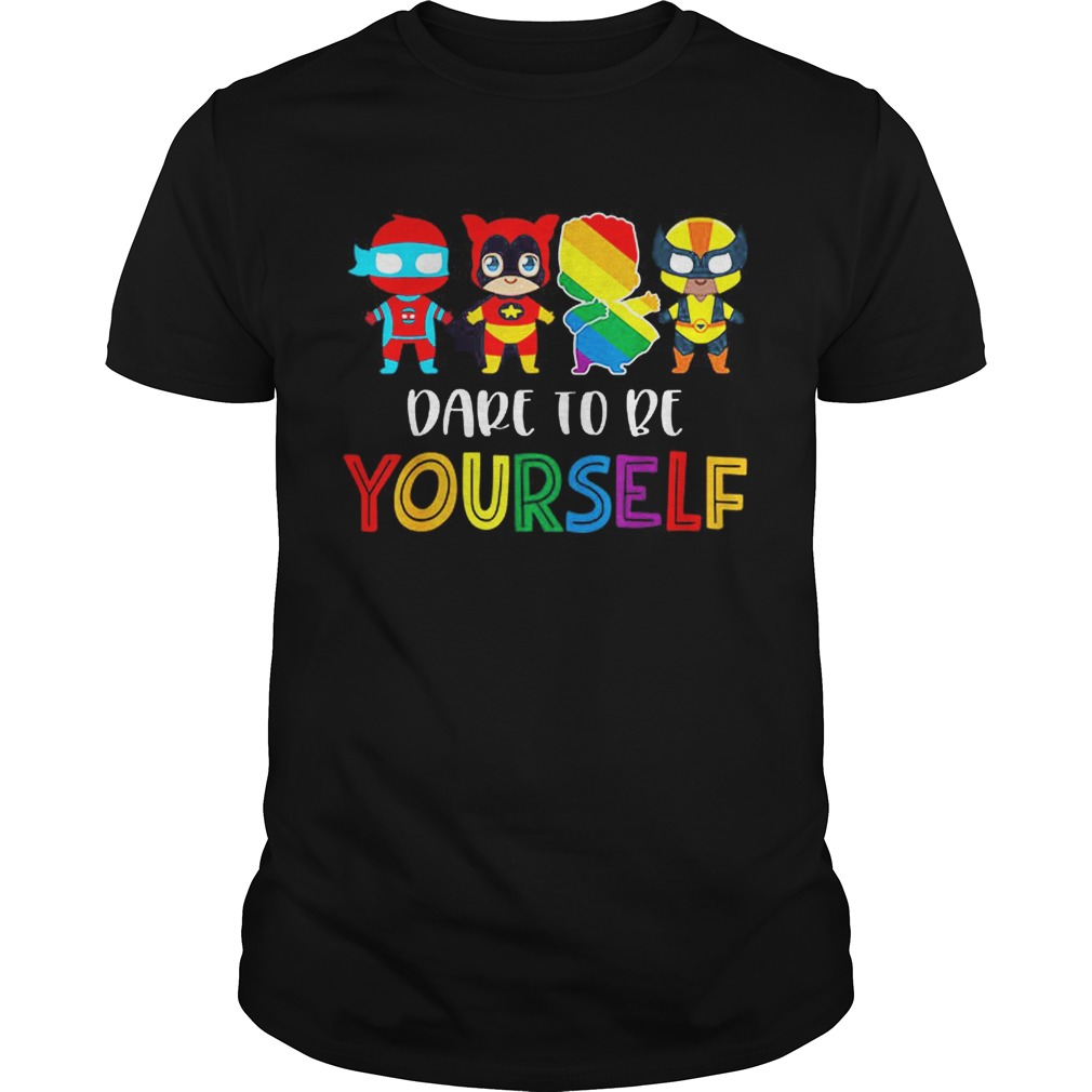 Nice Dare To Be Yourself LGBT Pride Superheroes shirt