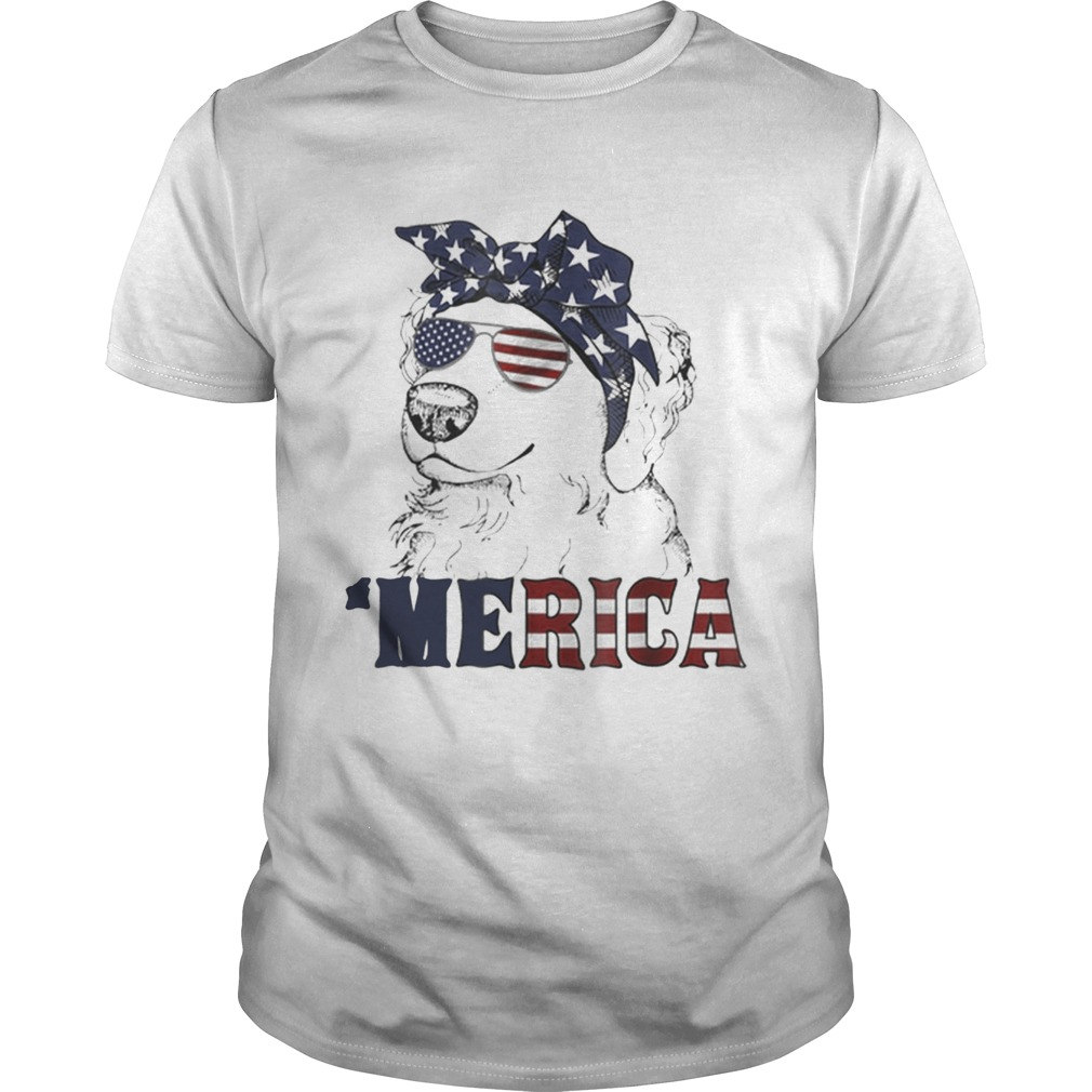 Original Merica American Flag Golden Retriever 4th Of July Gift Shirt