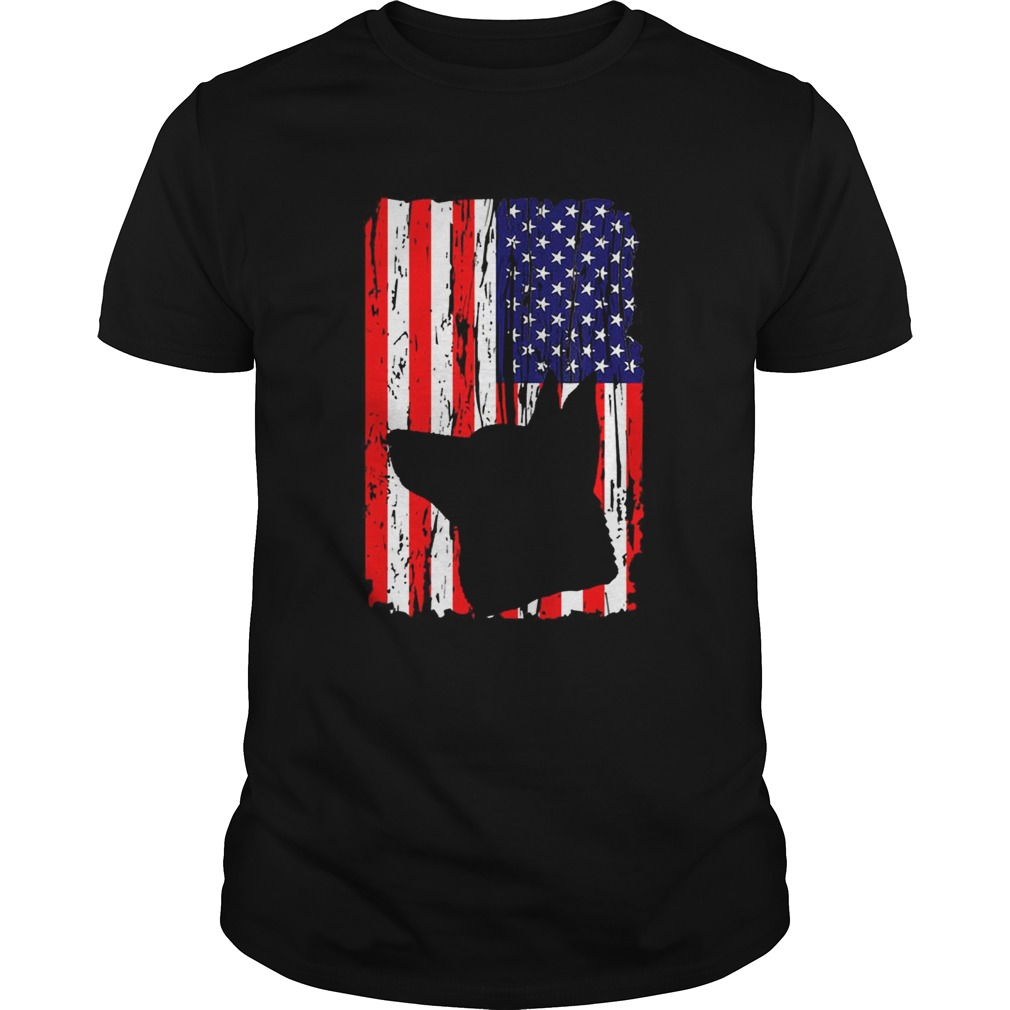 Patriotic German Shepherd American Flag Dog shirt