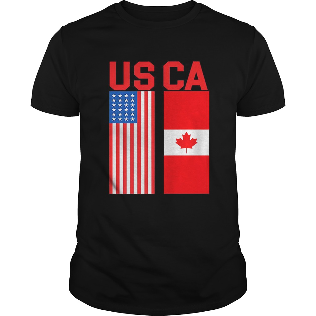 Proud Usa Canada Flags Patriotic Trendy Gift shirt