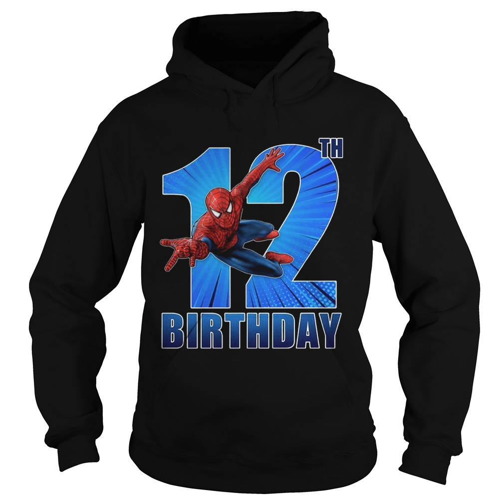 1559966775Spiderman Swinging 12th Funny Birthday Youth T- Hoodie