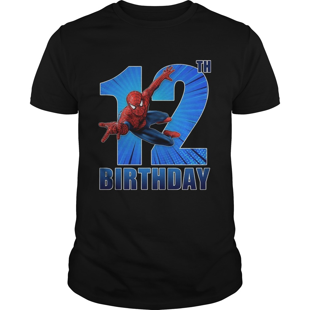 Spiderman Swinging 12th Funny Birthday Youth T-shirt