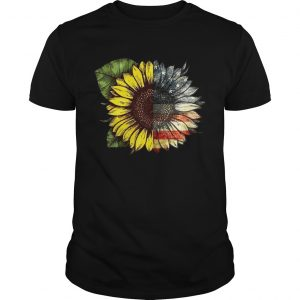 Sunflower American USA flag 4th of july shirt