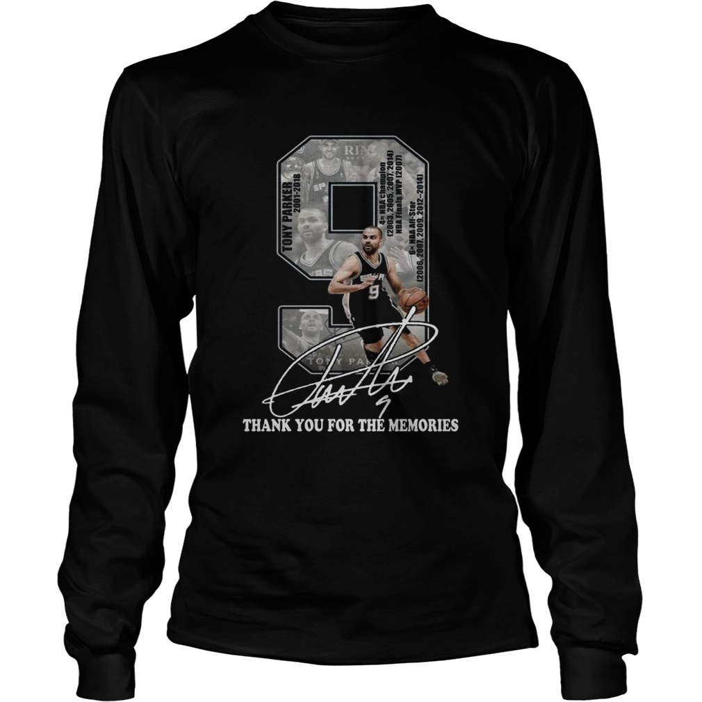 Tony Parker 2001 2018 thank you for the memories signature LongSleeve
