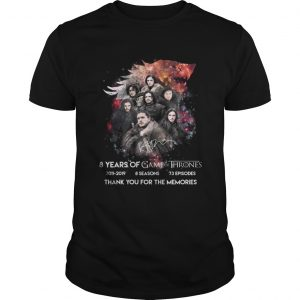 Top Jon Snow 8 years of Game Of Thrones signature thank shirt