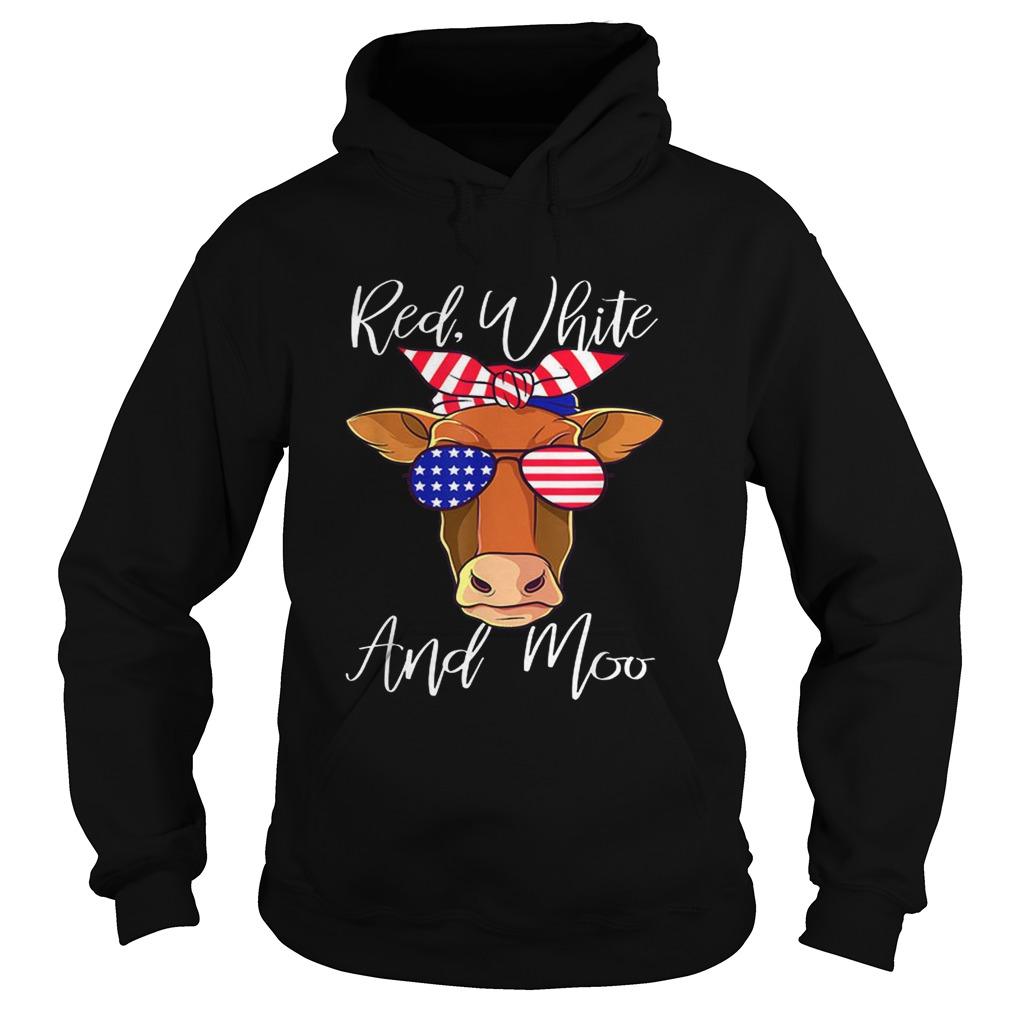 Best price Red White and Moo Cow American Flag 4th Of July Hoodie