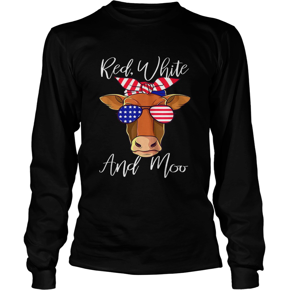 Best price Red White and Moo Cow American Flag 4th Of July LongSleeve