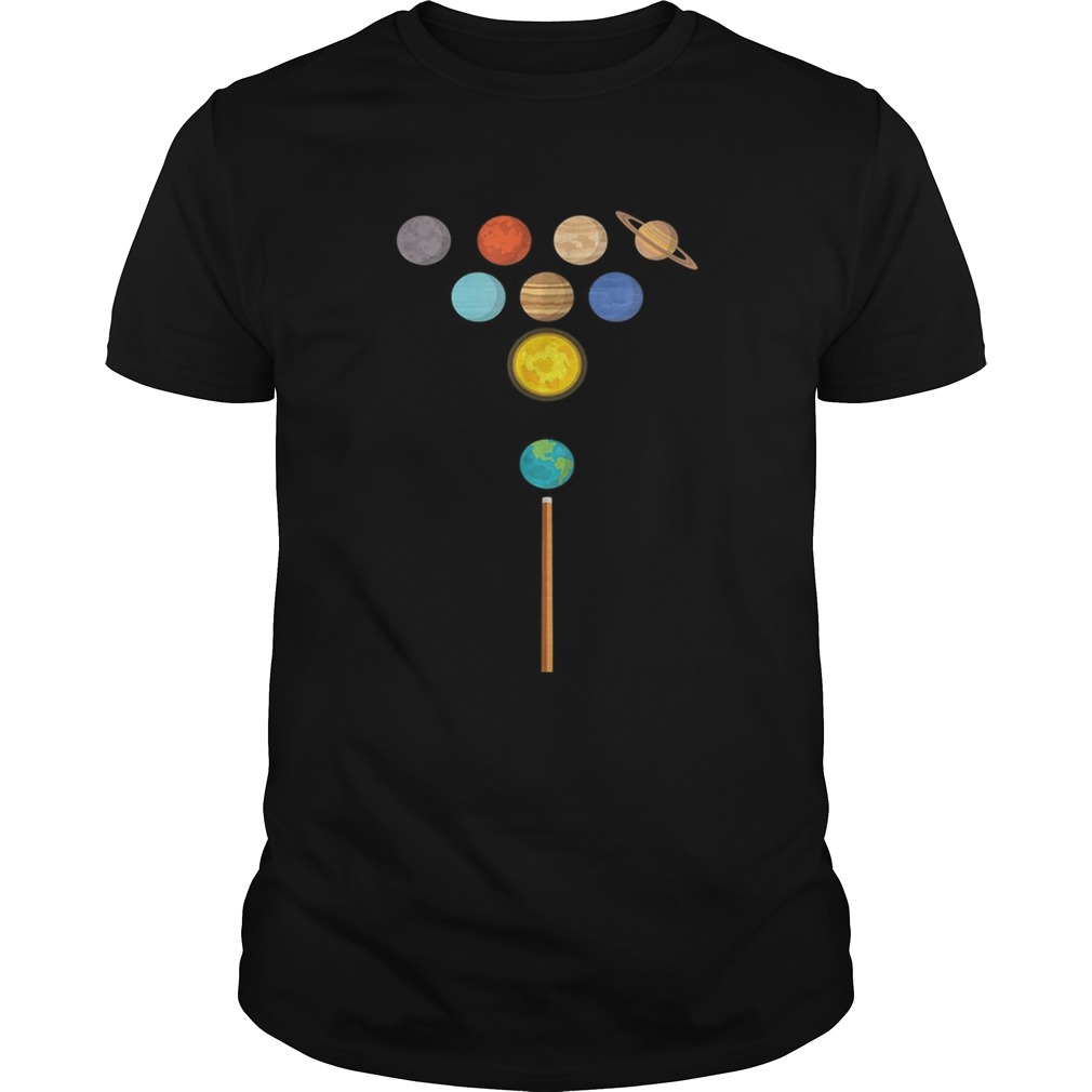 Earth Billiard Ball Strucking Planets shirt