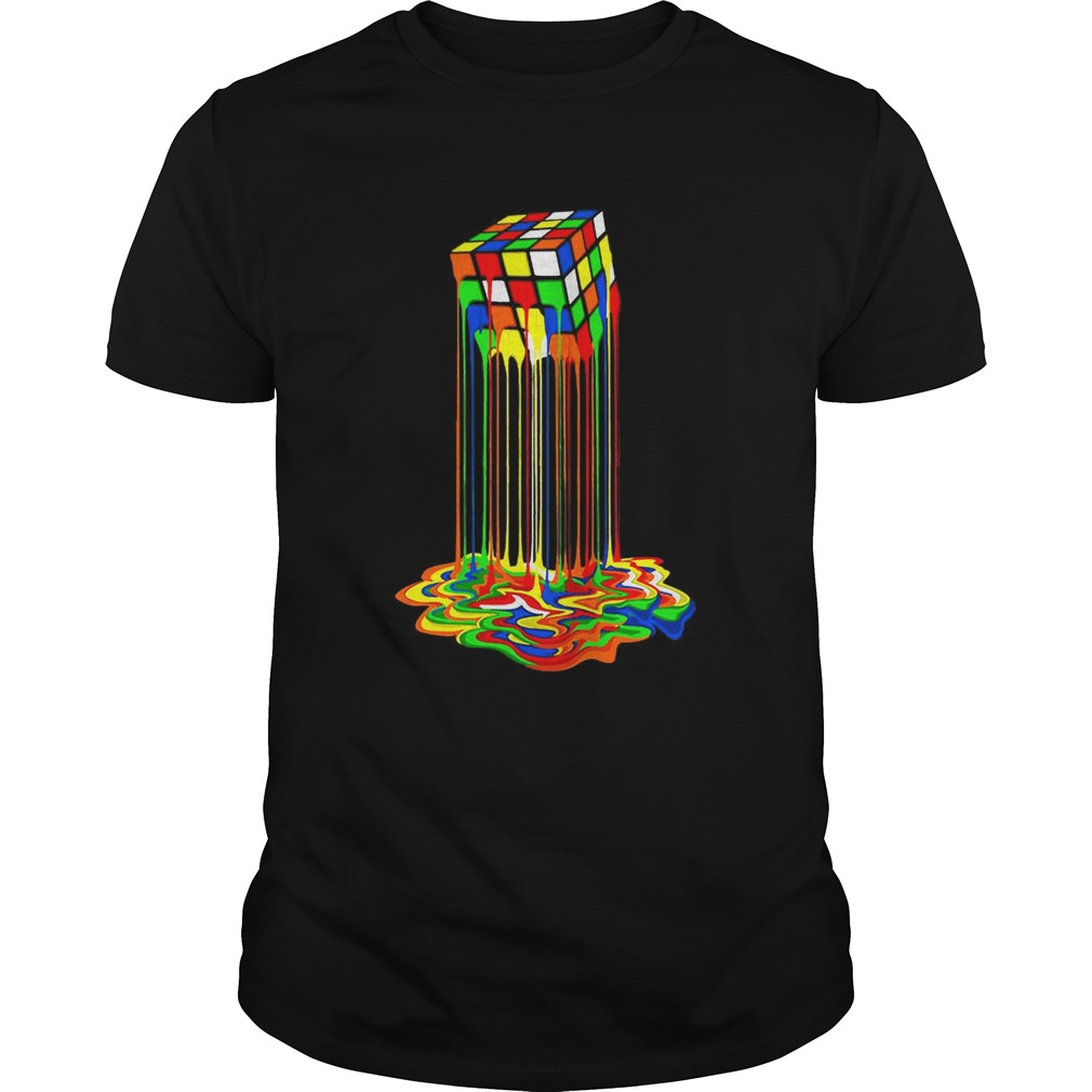 Original Rainbow Abstraction Melted Rubiks Cube Colorful Cube shirt