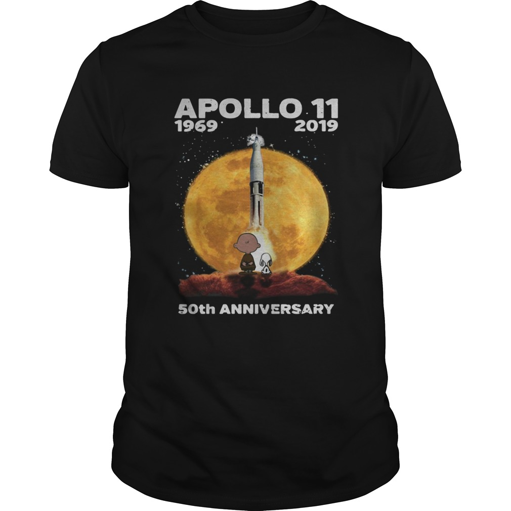 Snoopy and Charlie Brown watching Apollo 11 1969 2019 50th shirt
