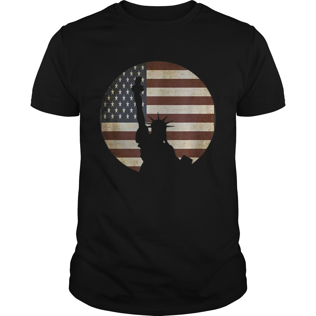 Statue Of Liberty Silhouette Over American Flag shirt