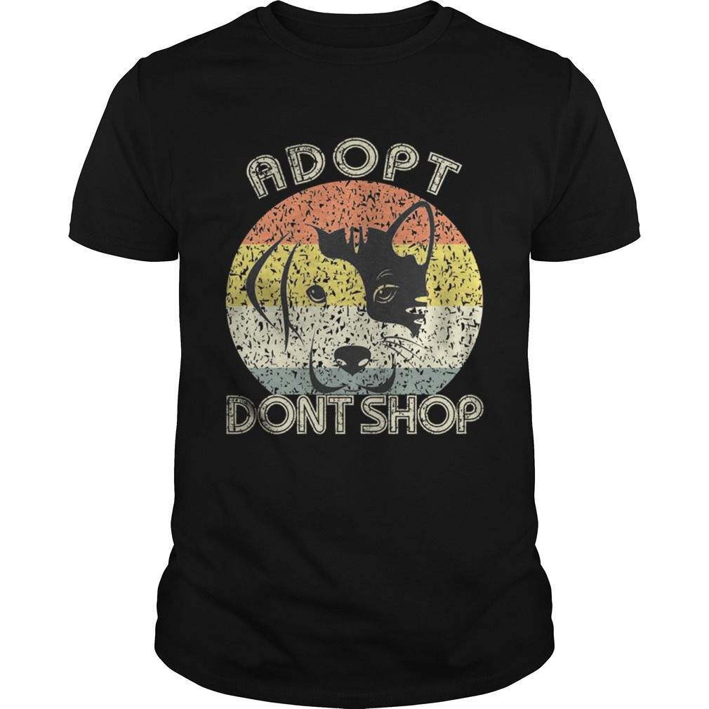 Adopt Dont Shop Vintage For Pet LoversCat And Dog TShirt