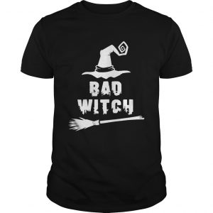 Bad Witch Magic Hat Broomstick For Halloween Costume TShirt