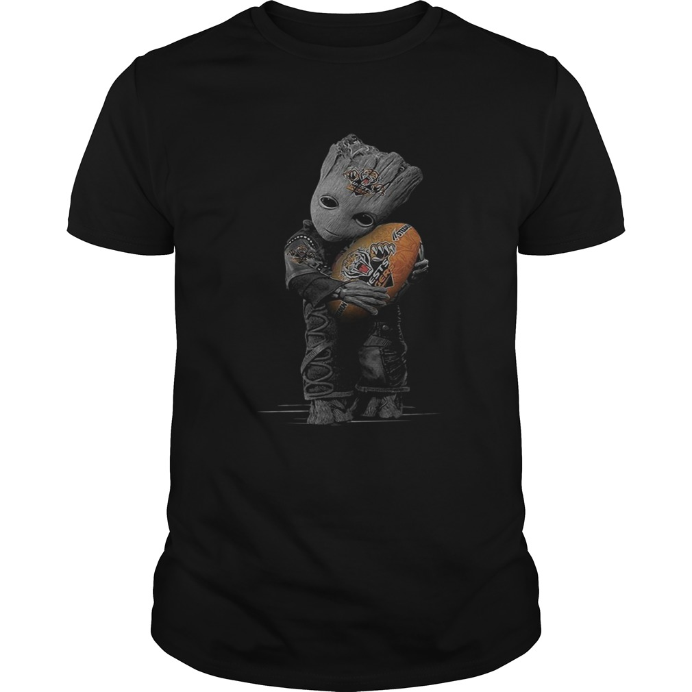 Baby Groot hug Wests Tigers ball shirt