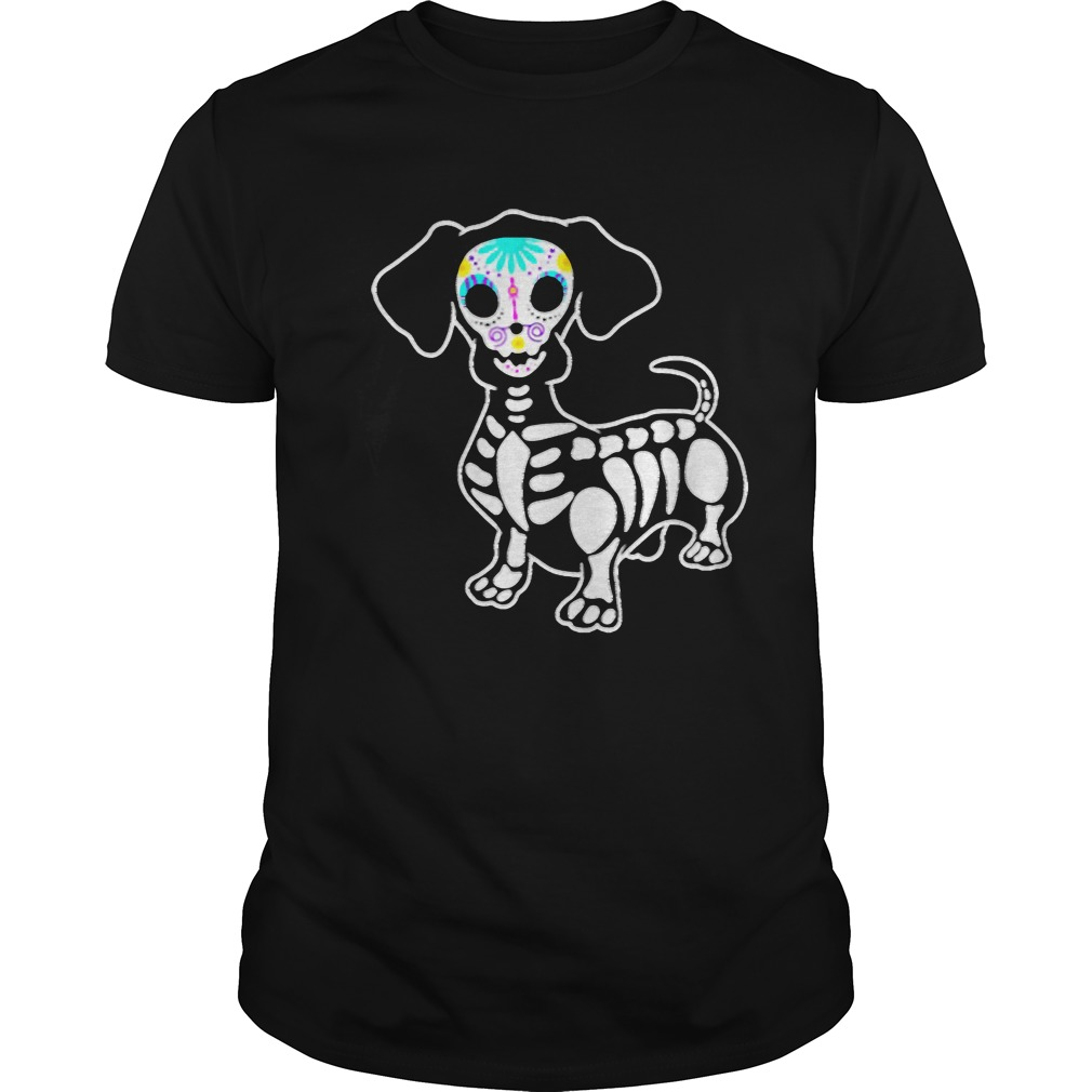 Dachshund Skeleton Pumpkin Happy Halloween TShirt