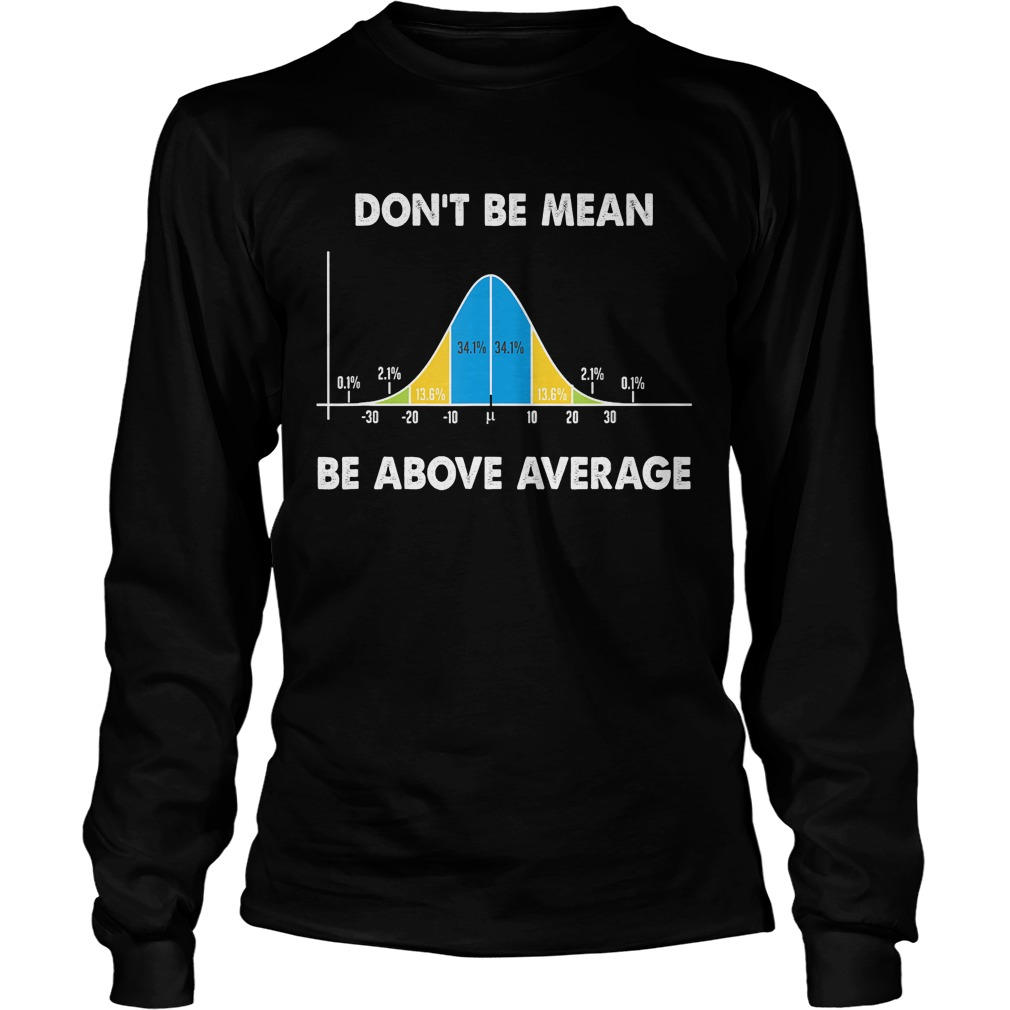 Dont Be Mean Be Above Average Funny Math Lover Gift TShirt LongSleeve