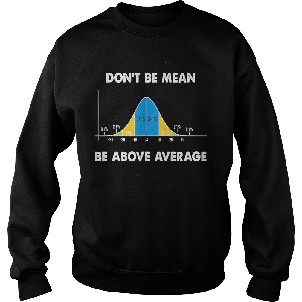 Dont Be Mean Be Above Average Funny Math Lover Gift TShirt Sweatshirt