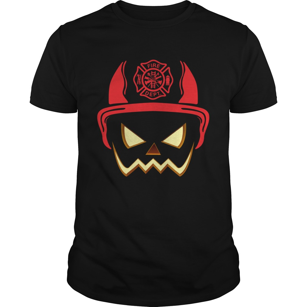Halloween Pumpkin Firefighter Helmet Funny Dad Husband Shirt