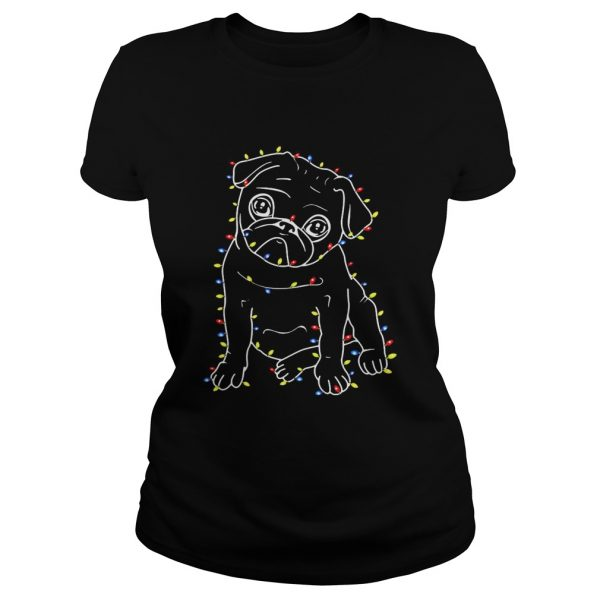 Pug Christmas lights xmas Classic Ladies