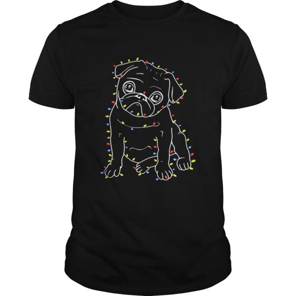 Pug Christmas lights xmas shirt