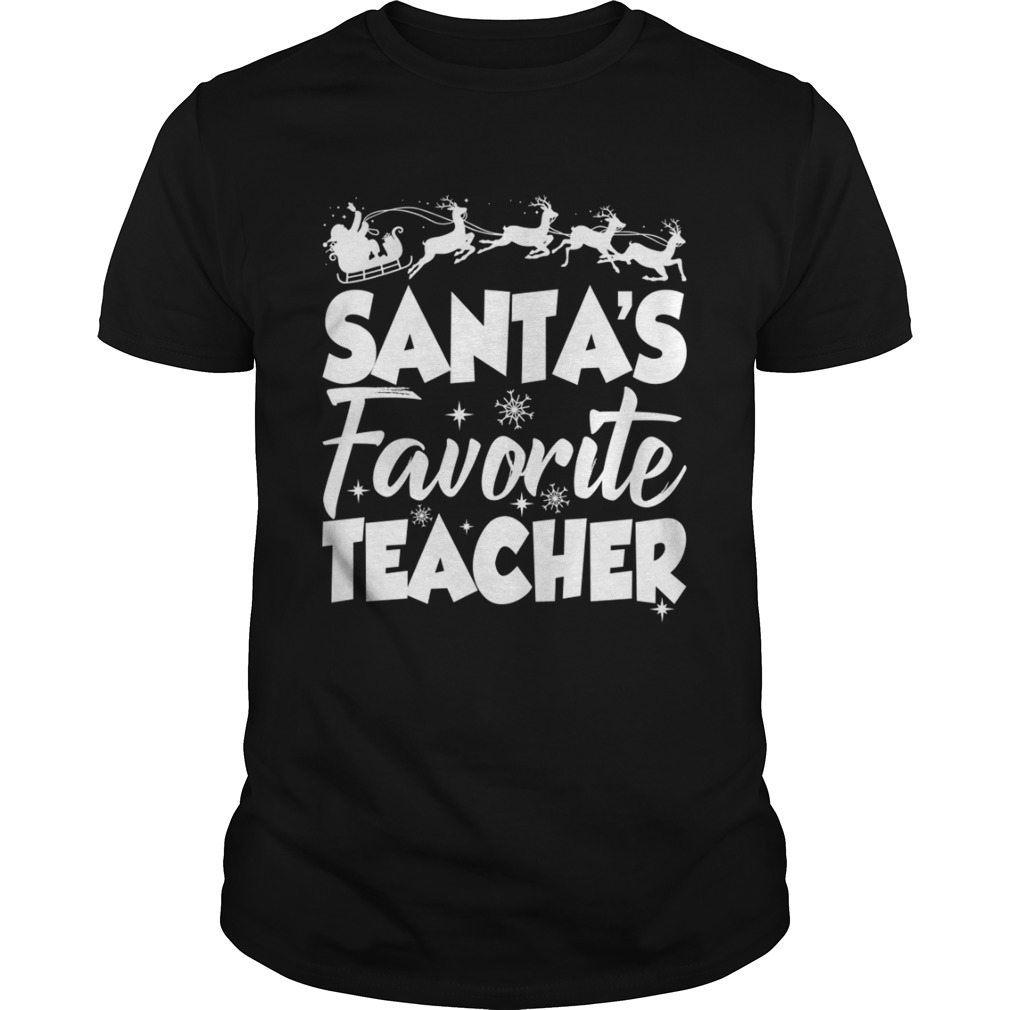 Santas Favorite Teacher Funny Christmas Teaching Gift Shirt