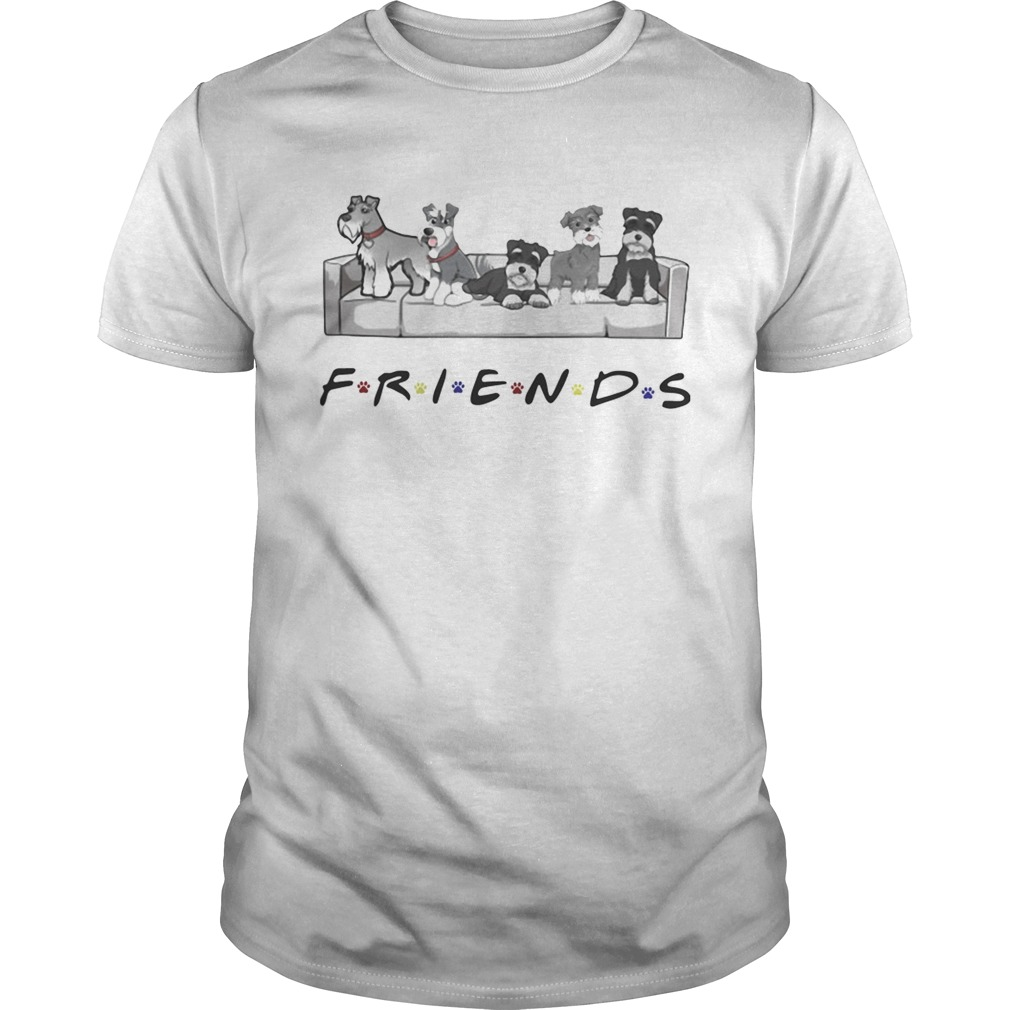 Schnauzer sit on sofa friends shirt